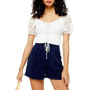 TOPSHOP Cream Lace Up Crop Top US Size 8 NWT